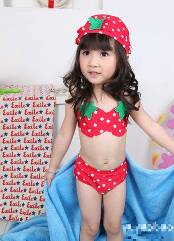 Swimwear-for-kids-girls-DHL-shipping-Strawberry-Pattern-kid-s-swimwear-Two-piece-bathing-suits-cap