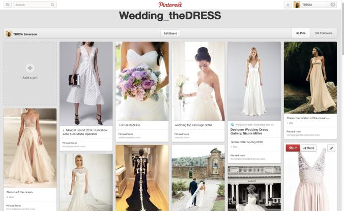 pinned wedding dress