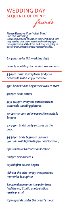 wedding day schedule guests