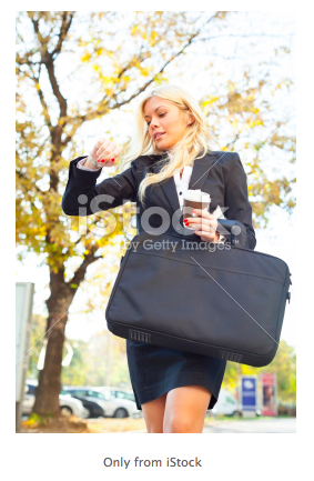 walking gal with bag, coffee and late